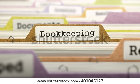 Bookkeeping - Folder Register Name in Directory. Colored, Blurred Image. Closeup View. 3D Render. - stock photo