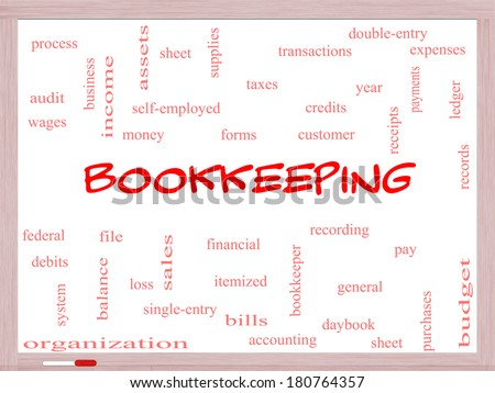 Bookkeeping Word Cloud Concept on a Whiteboard with great terms such as financial, records, ledger and more. - stock photo