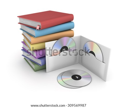 Books and Cds, This is a computer generated and 3d rendered picture. - stock photo
