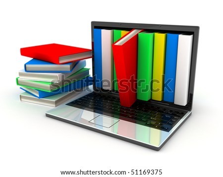 books and computer (done in 3d, isolated) - stock photo