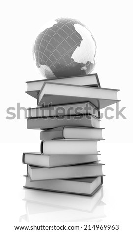 books and earth on a white background - stock photo