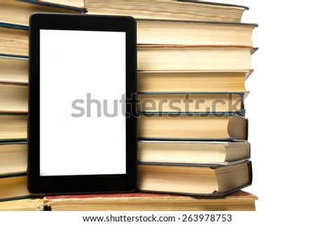 Books and electronic book reader. Electronic library concept. Back to school. Copy space - stock photo