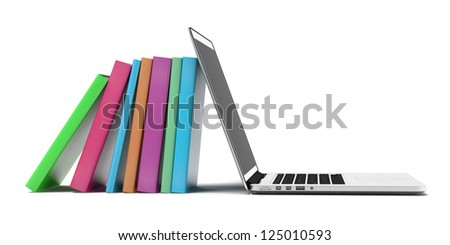 Books and laptop isolated on a white background - stock photo