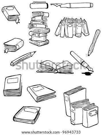 books and pens cartoon collection (raster version) - stock photo