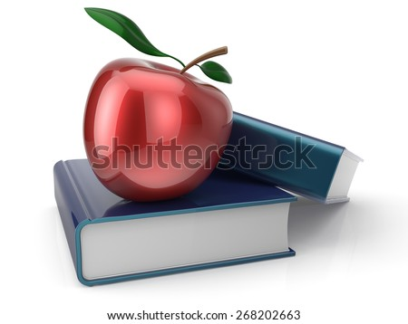Books and red apple learning education health reading textbook examination back to school concept. 3d render isolated on white - stock photo
