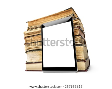 Books and tablet computer on white, digital library concept. - stock photo