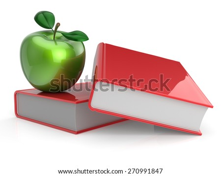 Books apple red green textbook education studying reading learning school college knowledge wisdom idea icon concept. 3d render isolated on white - stock photo