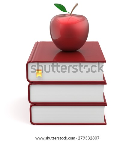 Books apple red index blank textbooks stack education studying reading learning school college knowledge literature idea icon concept. 3d render isolated on white - stock photo