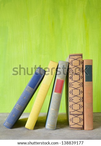 books arrangement, free copy space, blank spines - stock photo