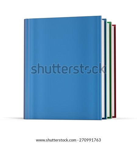 Books blank cover no labels template textbook colorful. School college learning information content icon concept. 3d render isolated on white background - stock photo