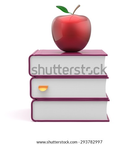 Books blank covers textbooks stack purple and red apple reading education studying learning school knowledge literature question answer icon concept. 3d render isolated - stock photo
