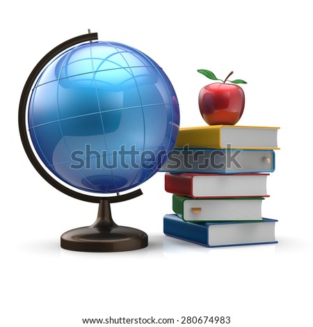Books blank textbooks apple globe global geography wisdom international adventure literature icon studying knowledge symbol concept. 3d render isolated on white background - stock photo
