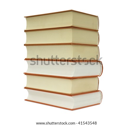 books by a large plan on a white background - stock photo