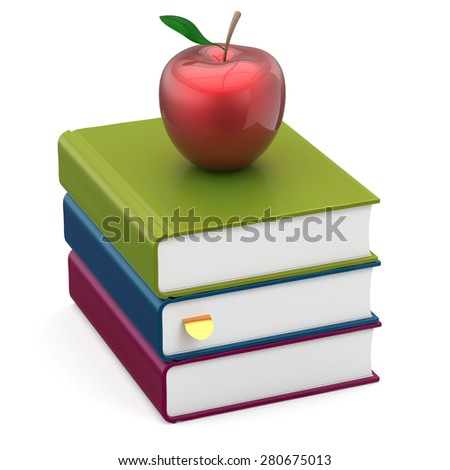 Books colorful apple red stack textbooks studying education reading learning school college knowledge literature idea wisdom icon concept. 3d render isolated on white - stock photo