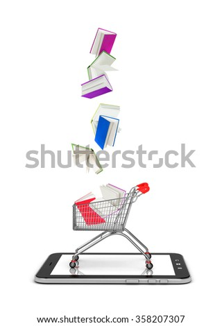 books falls into shopping cart isolated on white - stock photo