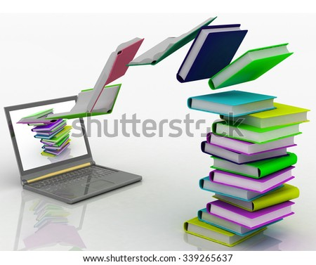 Books fly into your laptop. 3d render illustration - stock photo