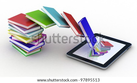 Books fly into your tablet, 3D images - stock photo