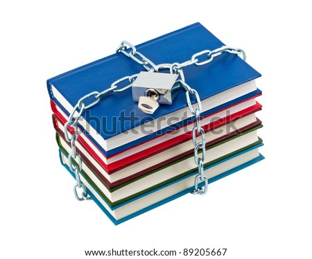 Books in chains closed padlock isolated on white background. - stock photo