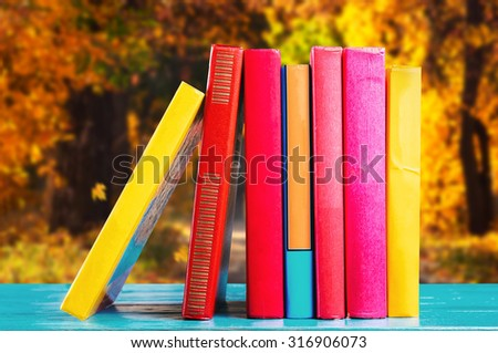 Books in the autumn park - stock photo