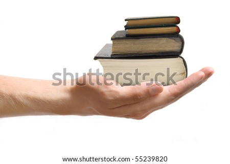 books in the hand - stock photo