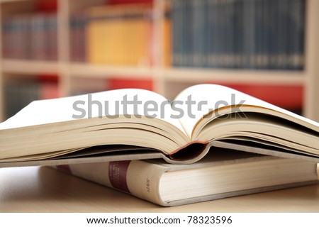 books in the library - stock photo