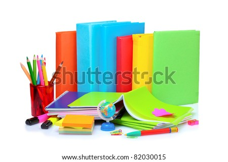 books, notebooks and pencils isolated on white - stock photo