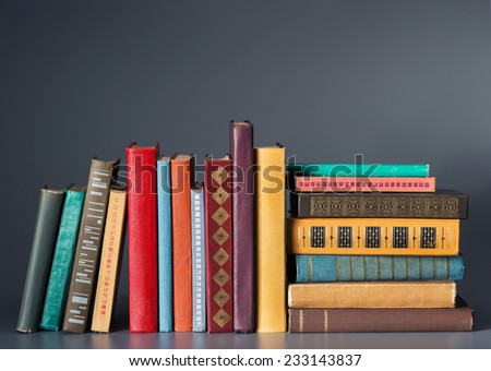 Books on a dark background - stock photo