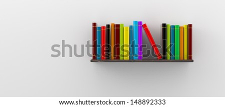 books on a wooden shelf on white wall concept of education - stock photo