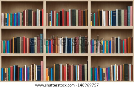 Books on a wooden shelfs.  - stock photo