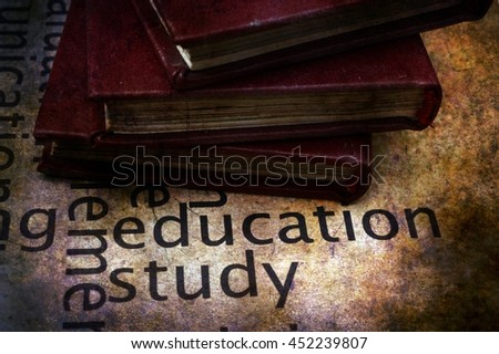 Books on education and study text - stock photo