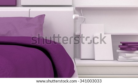 Books on the shelves in classic bedroom interior background detail. Bed, nightstand, pillow, sheets and blanket. Copy space image. 3d render - stock photo