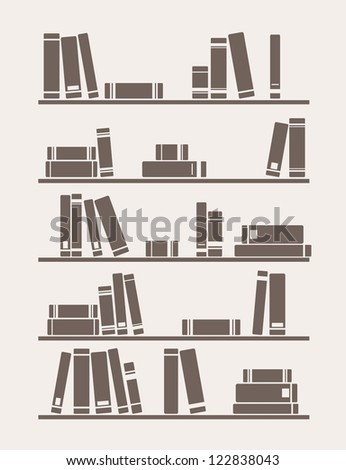 Books on the shelves simply retro school or library illustration. Vintage objects for decorations, background, textures or interior wallpaper. - stock photo