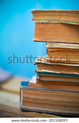 Books on the table.  - stock photo