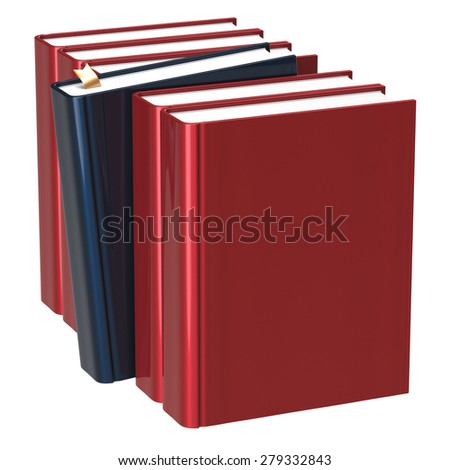 Books row red blank one black selected choosing leadership take answer covers standing textbook template. School studying grab education index content icon concept. 3d render isolated on white - stock photo