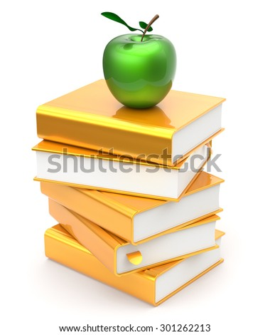 Books stack golden yellow textbooks apple green education studying reading learning school college knowledge literature idea icon concept. 3d render isolated on white - stock photo