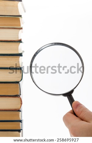 Books stacking. Back to school. White background. - stock photo