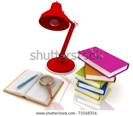 books with a lamp and glasses on white background - stock photo