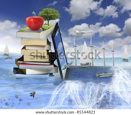 Books with a laptop - stock photo