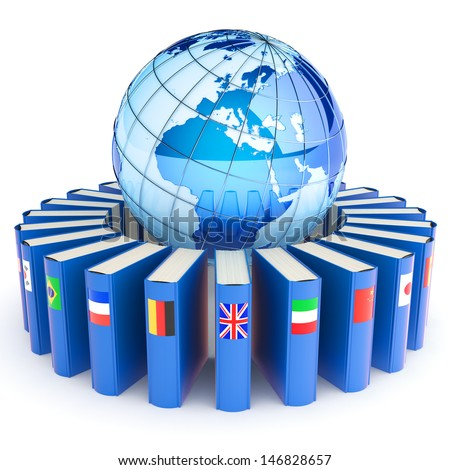 Books with the flags of the countries of the Earth. E-learning concept. Elements of this image furnished by NASA. - stock photo