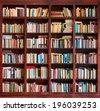 Bookshelf background - stock photo