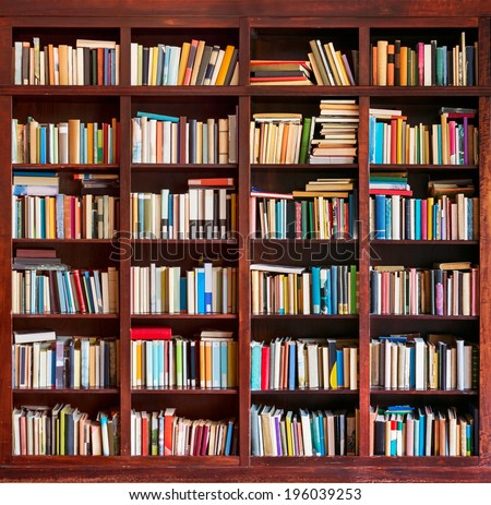 Bookshelf background - stock photo