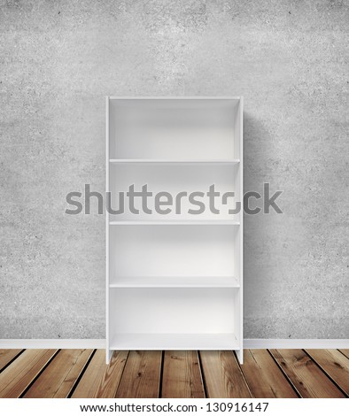 bookshelf, concrete wall and wooden floor - stock photo