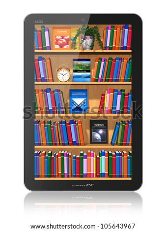 Bookshelf in tablet computer isolated on white background with reflection effect - stock photo