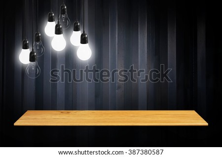 Bookshelf on the wall with lamp - For product display. - stock photo