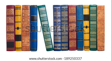 bookshelf or book spines row isolated on white - stock photo