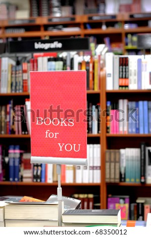 Bookstore and  area with  books for you - stock photo