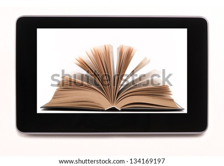 Bookstore in table computer, isolated - stock photo