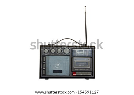 Boom box isolate on white background - stock photo