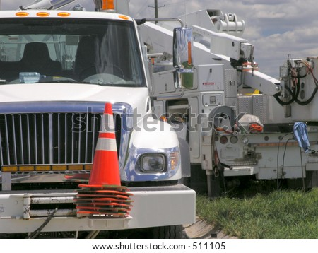 Boom Truck - Electric Utility Work - stock photo