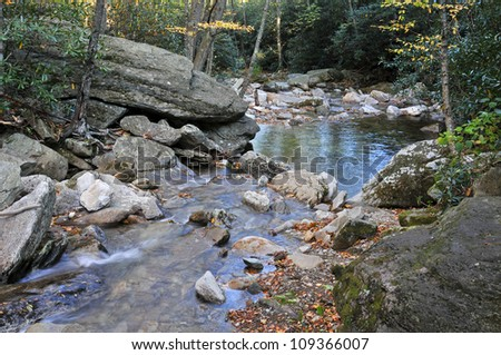 Boone Fork, Tanawha Trail, Blue Ridge Parkway in Autumn Horizontal - stock photo